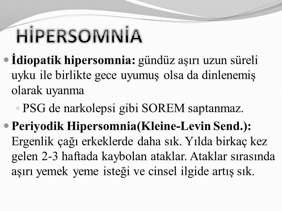 HİPERSOMNİA İdiopatik hipersomnia: gündüz aşırı uzun süreli uyku ile birlikte gece uyumuş olsa da dinlenemiş olarak uyanma.