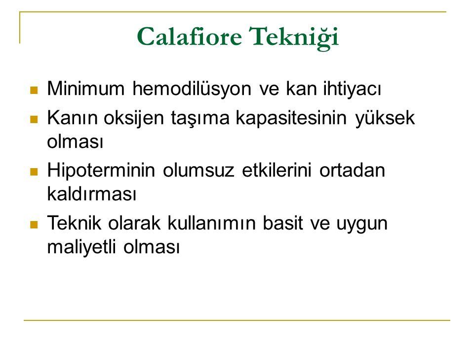 Calafiore Tekniği Minimum hemodilüsyon ve kan ihtiyacı