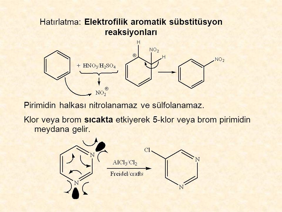 Hatırlatma: Elektrofilik aromatik sübstitüsyon reaksiyonları