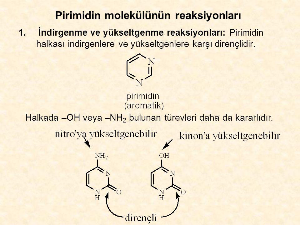 Pirimidin molekülünün reaksiyonları