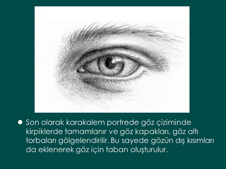 Son olarak karakalem portrede göz çiziminde kirpiklerde tamamlanır ve göz kapakları, göz altı torbaları gölgelendirilir.