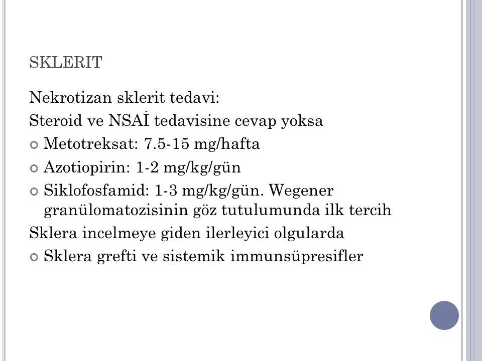 sklerit Nekrotizan sklerit tedavi: