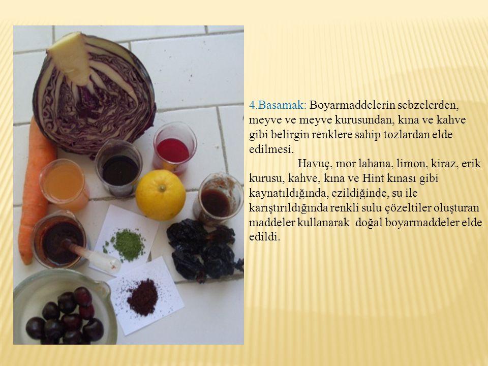 4.Basamak: Boyarmaddelerin sebzelerden, meyve ve meyve kurusundan, kına ve kahve gibi belirgin renklere sahip tozlardan elde edilmesi.