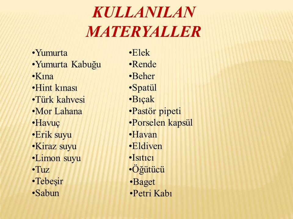 KULLANILAN MATERYALLER