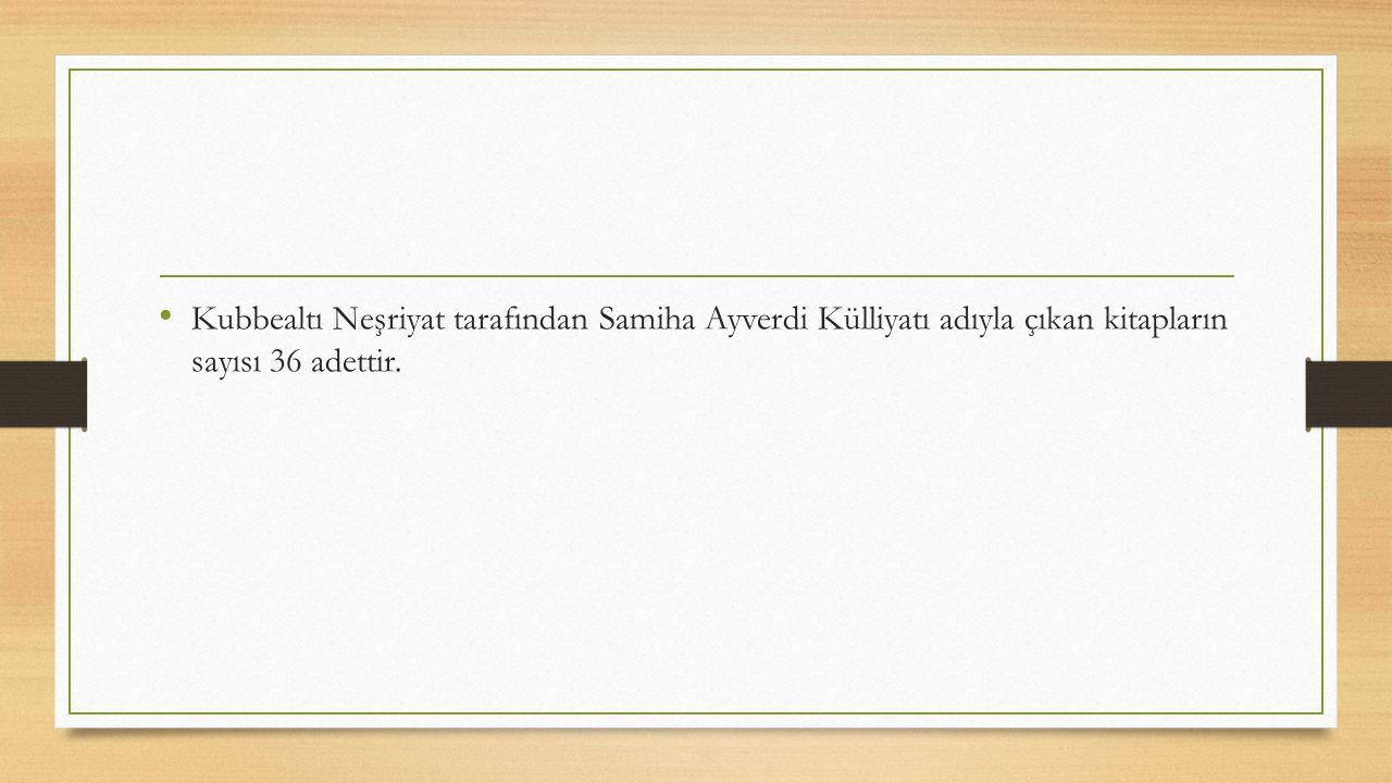 Kubbealtı Neşriyat tarafından Samiha Ayverdi Külliyatı adıyla çıkan kitapların sayısı 36 adettir.