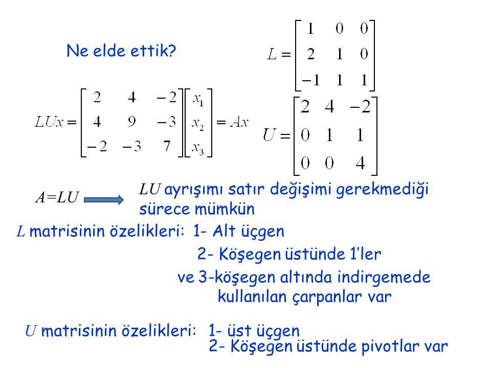 LU ayrışımı satır değişimi gerekmediği sürece mümkün A=LU
