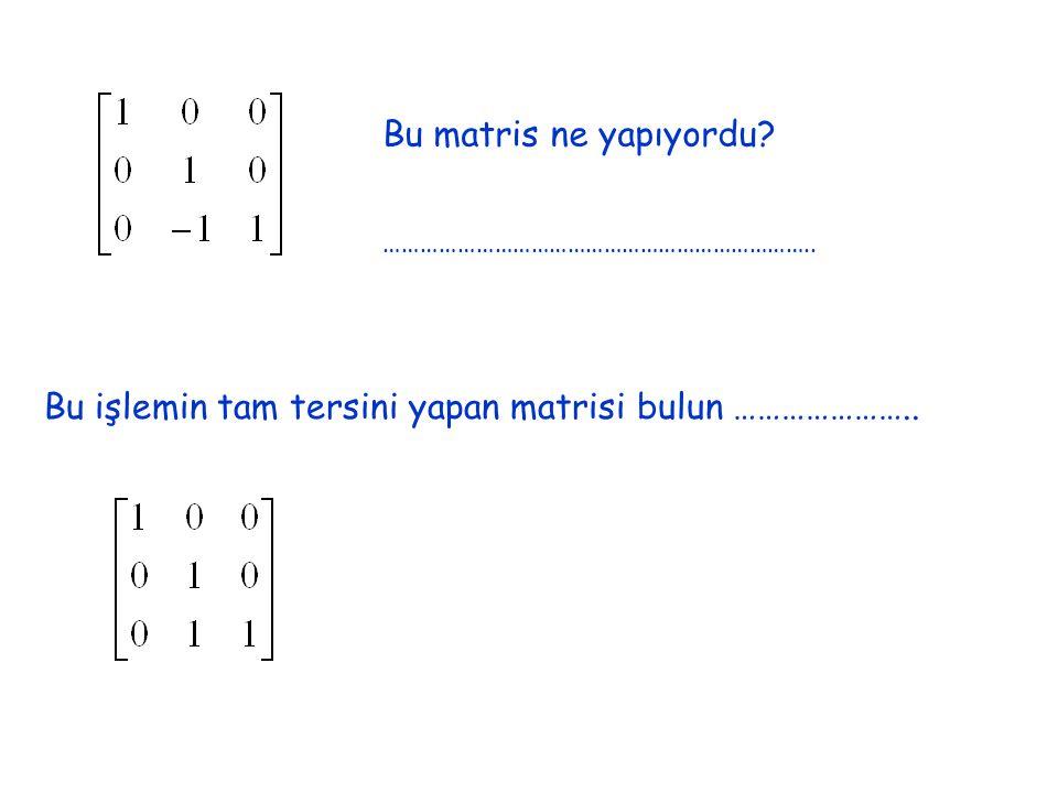 Bu işlemin tam tersini yapan matrisi bulun …………………..