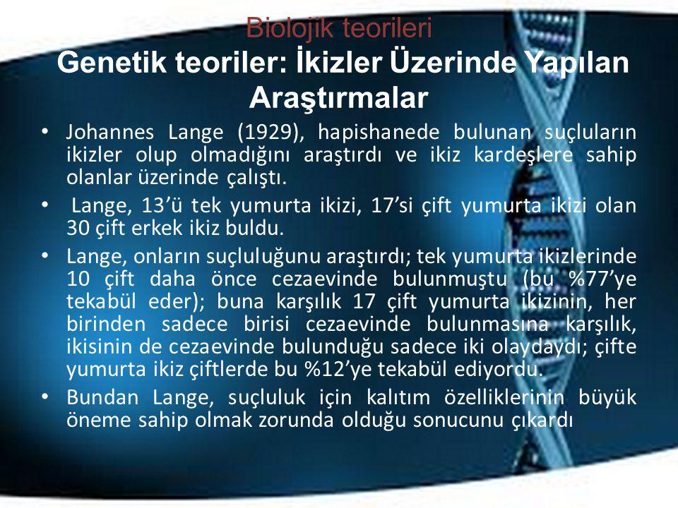 Biolojik teorileri Genetik teoriler: İkizler Üzerinde Yapılan Araştırmalar