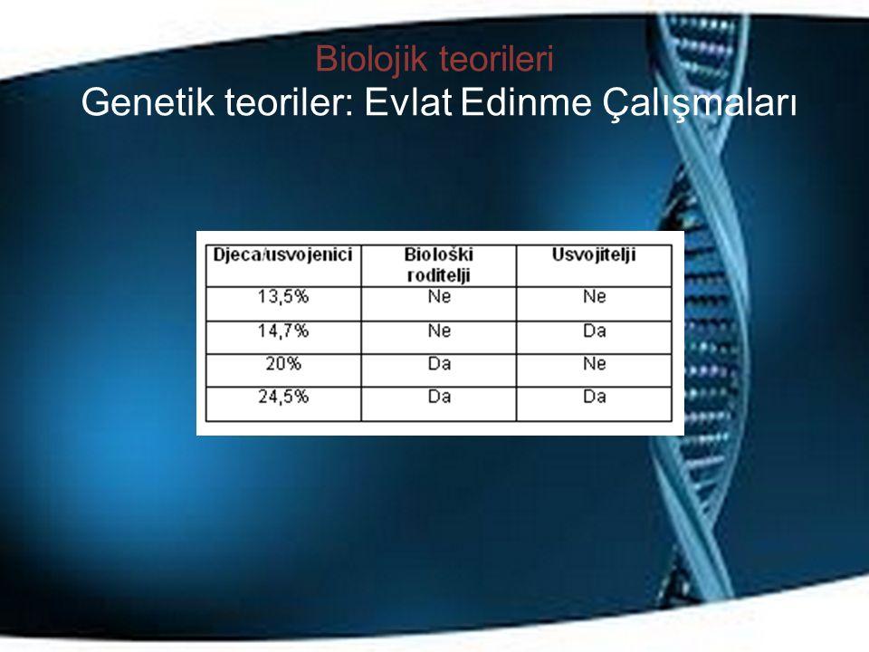 Biolojik teorileri Genetik teoriler: Evlat Edinme Çalışmaları