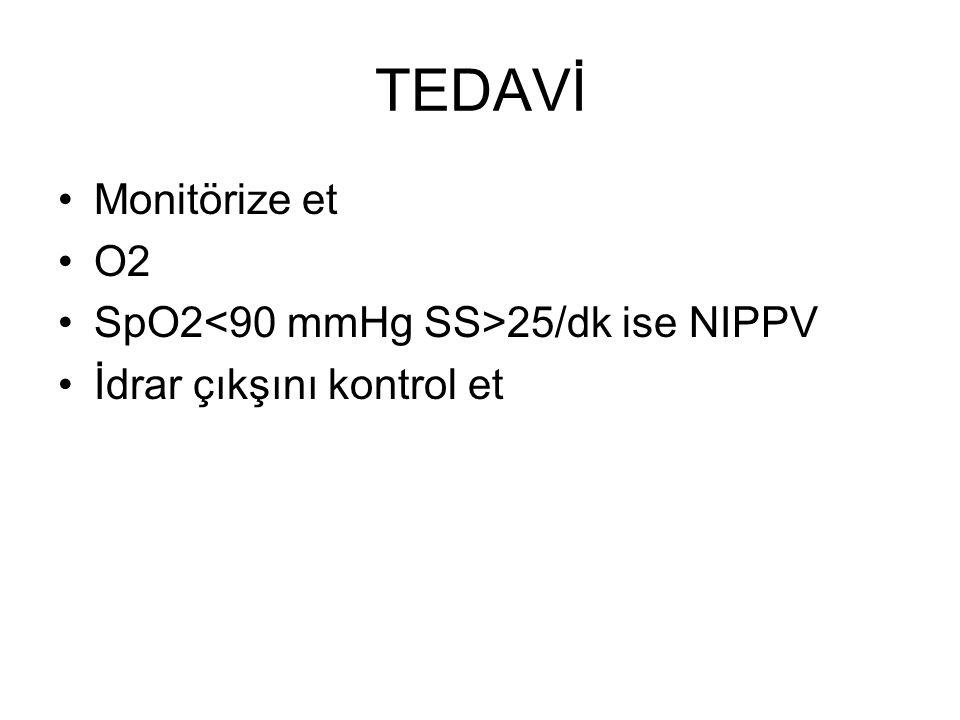 TEDAVİ Monitörize et O2 SpO2<90 mmHg SS>25/dk ise NIPPV