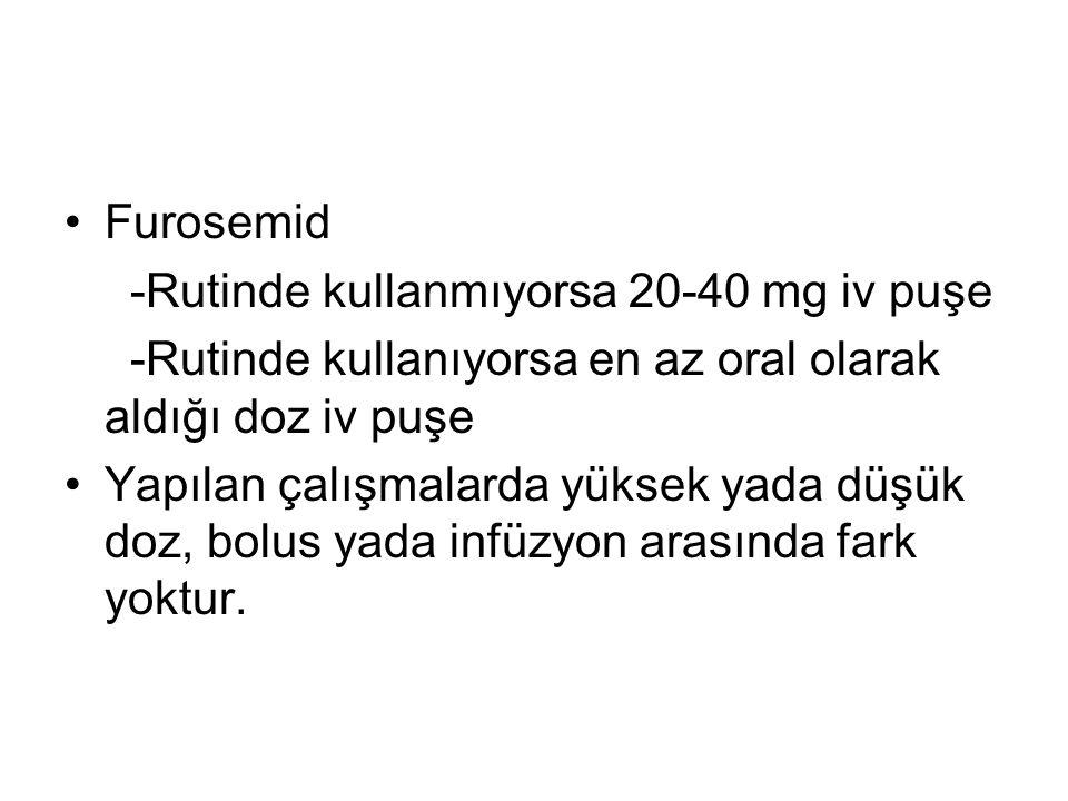 Furosemid -Rutinde kullanmıyorsa 20-40 mg iv puşe. -Rutinde kullanıyorsa en az oral olarak aldığı doz iv puşe.