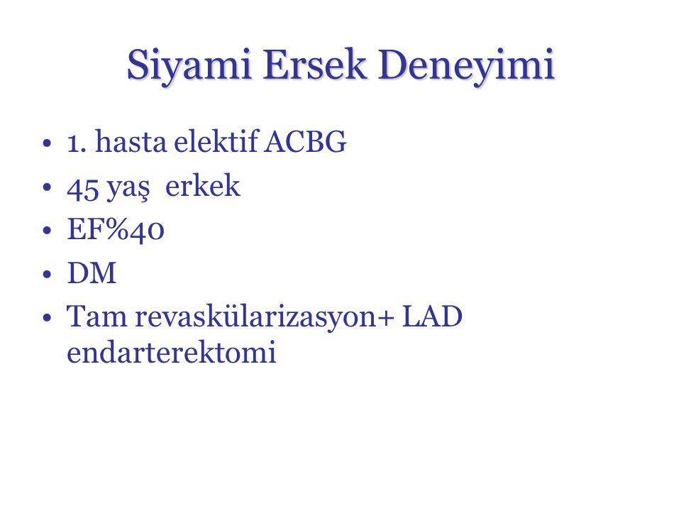 Siyami Ersek Deneyimi 1. hasta elektif ACBG 45 yaş erkek EF%40 DM