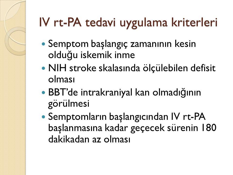 IV rt-PA tedavi uygulama kriterleri