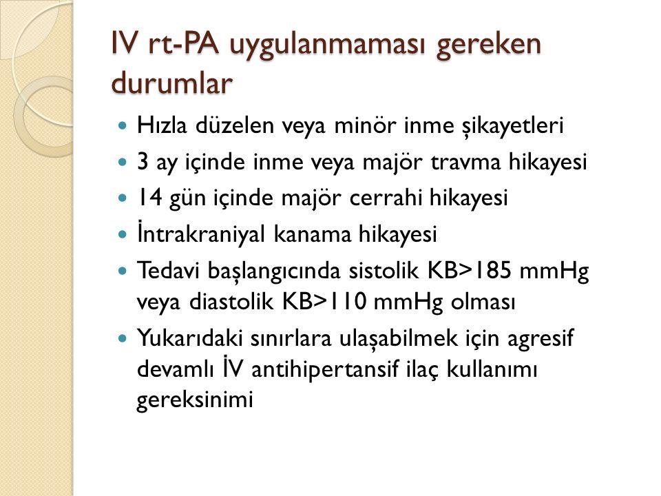 IV rt-PA uygulanmaması gereken durumlar