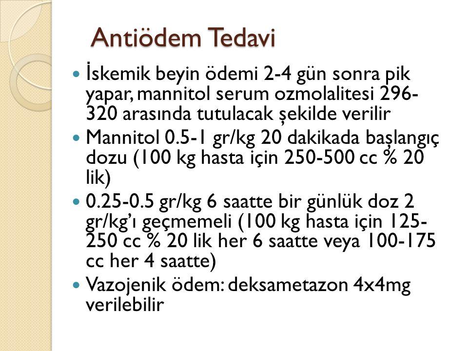 Antiödem Tedavi İskemik beyin ödemi 2-4 gün sonra pik yapar, mannitol serum ozmolalitesi 296- 320 arasında tutulacak şekilde verilir.