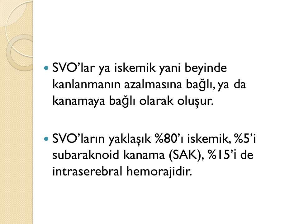 SVO'lar ya iskemik yani beyinde kanlanmanın azalmasına bağlı, ya da kanamaya bağlı olarak oluşur.
