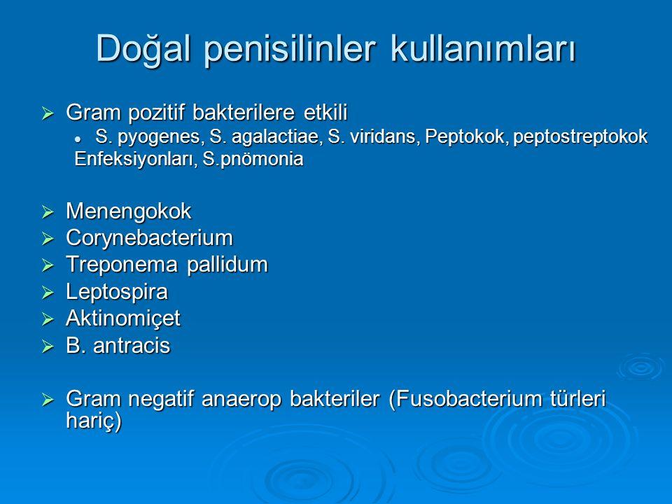 Doğal penisilinler kullanımları