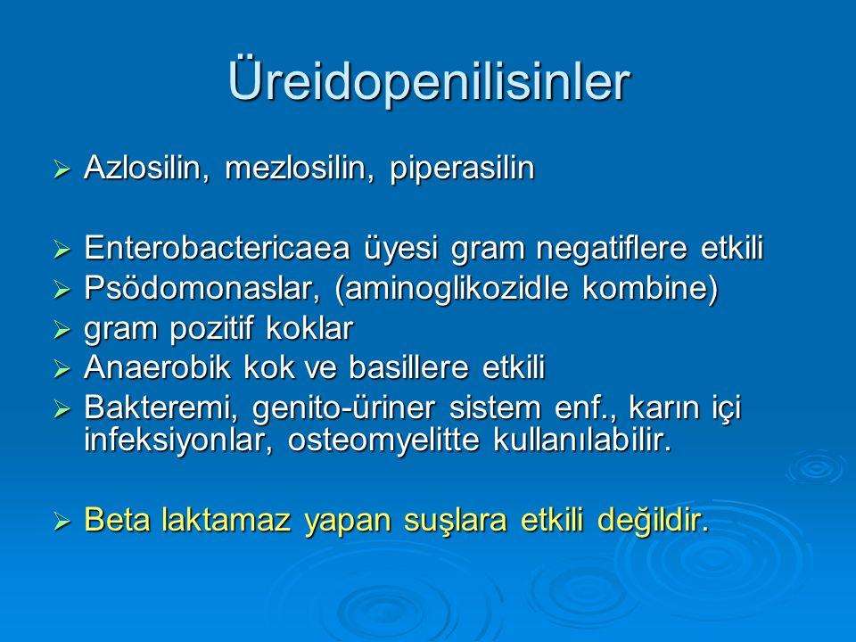 Üreidopenilisinler Azlosilin, mezlosilin, piperasilin