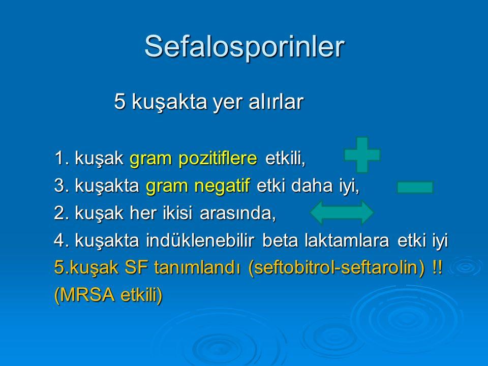 Sefalosporinler 5 kuşakta yer alırlar