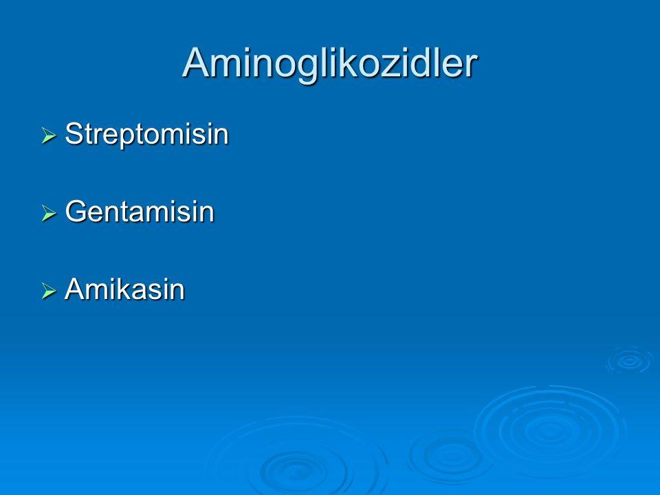 Aminoglikozidler Streptomisin Gentamisin Amikasin