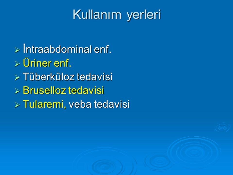 Kullanım yerleri İntraabdominal enf. Üriner enf. Tüberküloz tedavisi