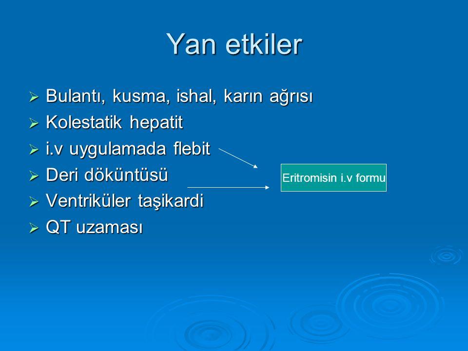 Yan etkiler Bulantı, kusma, ishal, karın ağrısı Kolestatik hepatit