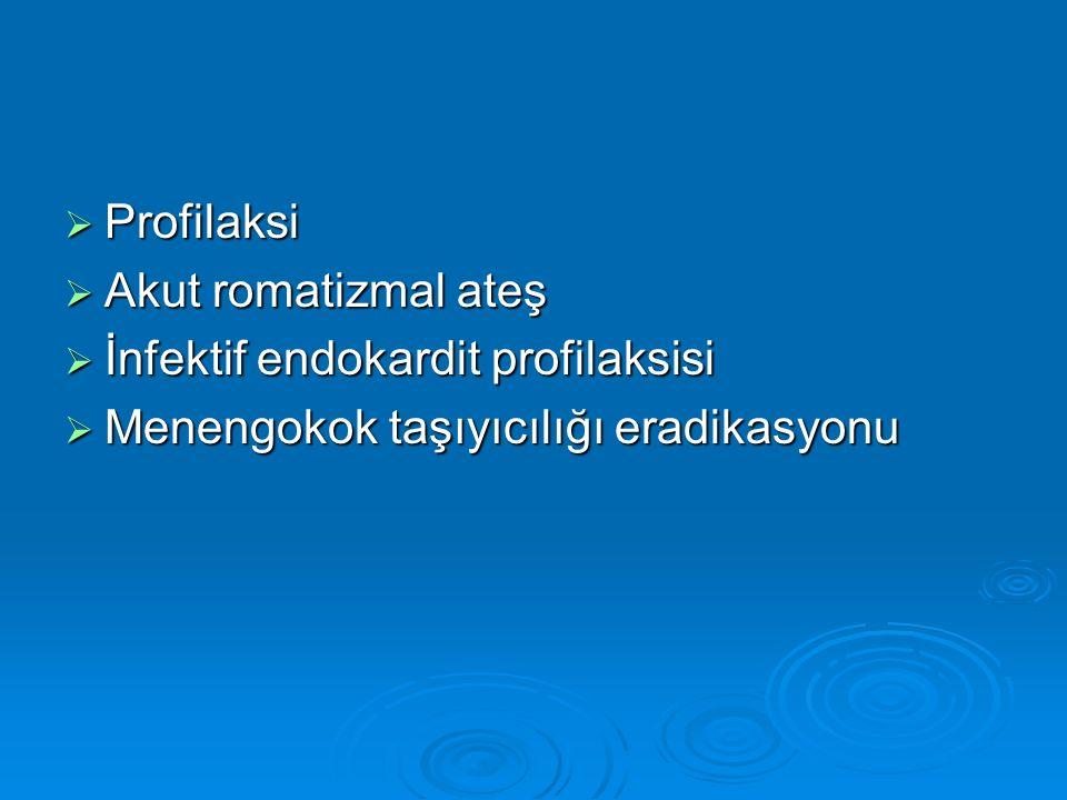 Profilaksi Akut romatizmal ateş. İnfektif endokardit profilaksisi.