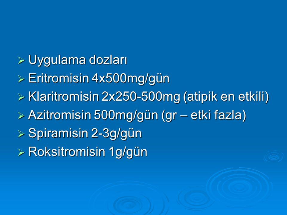 Uygulama dozları Eritromisin 4x500mg/gün. Klaritromisin 2x250-500mg (atipik en etkili) Azitromisin 500mg/gün (gr – etki fazla)
