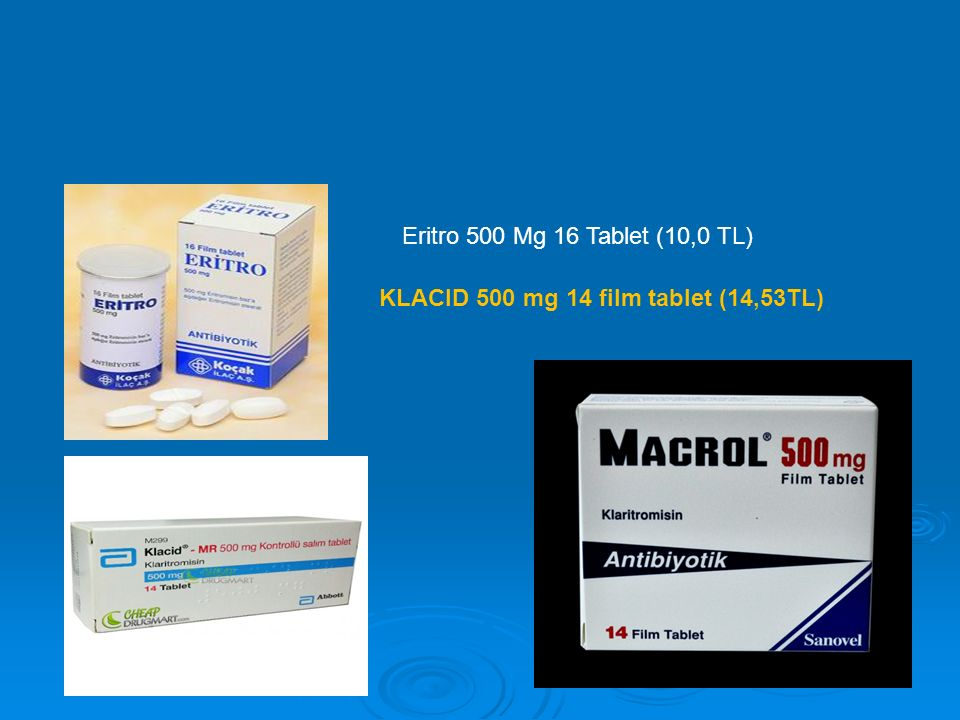 Eritro 500 Mg 16 Tablet (10,0 TL) KLACID 500 mg 14 film tablet (14,53TL)