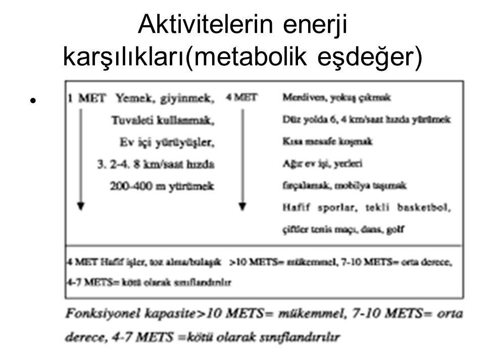 Aktivitelerin enerji karşılıkları(metabolik eşdeğer)