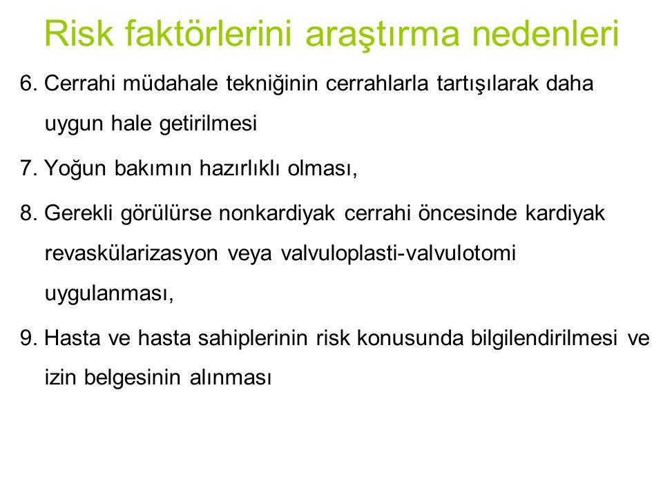 Risk faktörlerini araştırma nedenleri