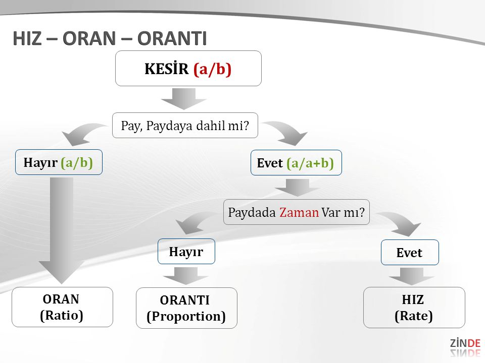 HIZ – ORAN – ORANTI KESİR (a/b) Pay, Paydaya dahil mi Hayır (a/b)