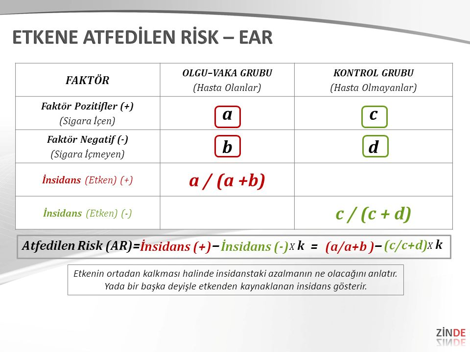 ETKENE ATFEDİLEN RİSK – EAR