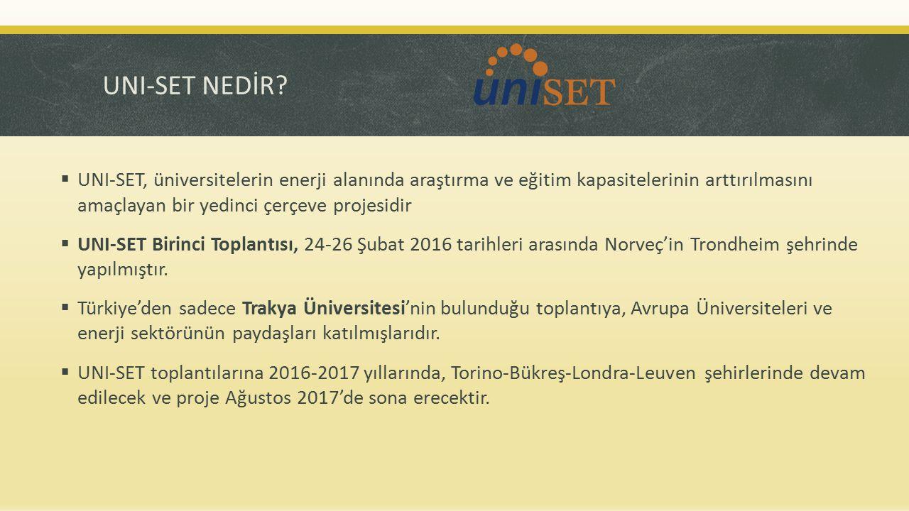 UNI-SET NEDİR UNI-SET, üniversitelerin enerji alanında araştırma ve eğitim kapasitelerinin arttırılmasını amaçlayan bir yedinci çerçeve projesidir.
