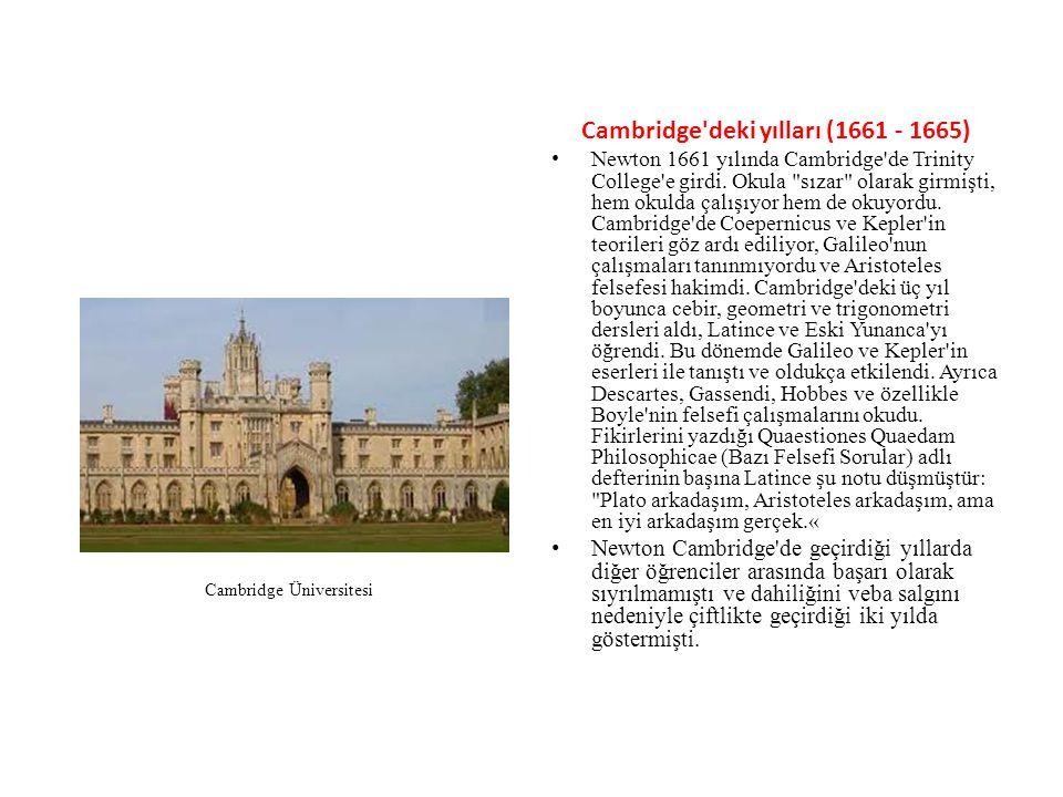 Cambridge deki yılları (1661 - 1665)