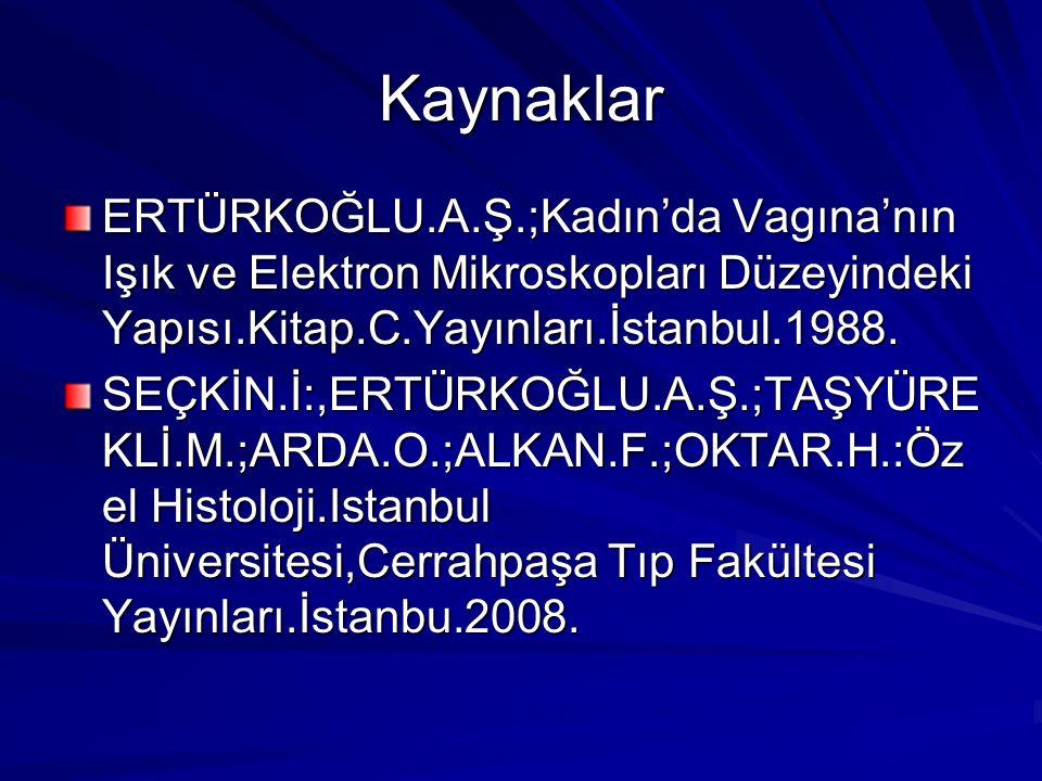 Kaynaklar ERTÜRKOĞLU.A.Ş.;Kadın'da Vagına'nın Işık ve Elektron Mikroskopları Düzeyindeki Yapısı.Kitap.C.Yayınları.İstanbul.1988.