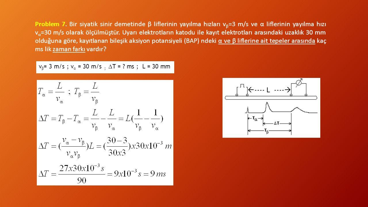 Problem 7. Bir siyatik sinir demetinde β liflerinin yayılma hızları vβ=3 m/s ve α liflerinin yayılma hızı vα=30 m/s olarak ölçülmüştür. Uyarı elektrotların katodu ile kayıt elektrotları arasındaki uzaklık 30 mm olduğuna göre, kayıtlanan bileşik aksiyon potansiyeli (BAP) ndeki α ve β liflerine ait tepeler arasında kaç ms lik zaman farkı vardır