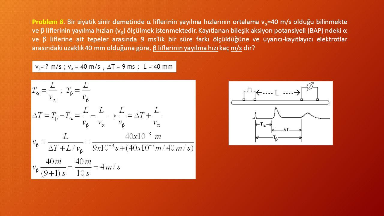 Problem 8. Bir siyatik sinir demetinde α liflerinin yayılma hızlarının ortalama vα=40 m/s olduğu bilinmekte ve β liflerinin yayılma hızları (vβ) ölçülmek istenmektedir. Kayıtlanan bileşik aksiyon potansiyeli (BAP) ndeki α ve β liflerine ait tepeler arasında 9 ms lik bir süre farkı ölçüldüğüne ve uyarıcı-kayıtlayıcı elektrotlar arasındaki uzaklık 40 mm olduğuna göre, β liflerinin yayılma hızı kaç m/s dir