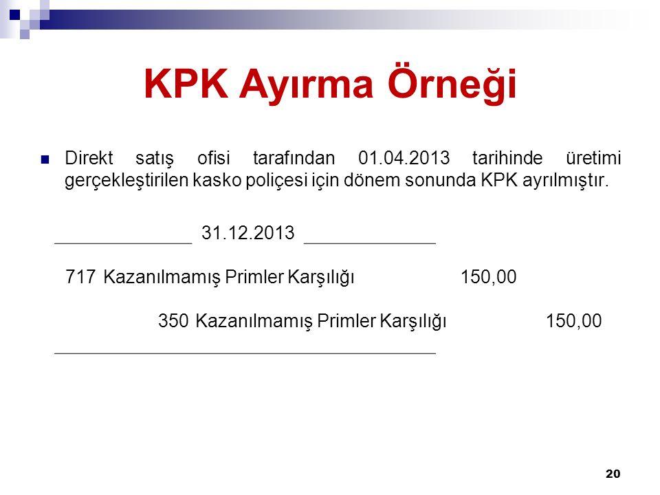 KPK Ayırma Örneği Direkt satış ofisi tarafından 01.04.2013 tarihinde üretimi gerçekleştirilen kasko poliçesi için dönem sonunda KPK ayrılmıştır.