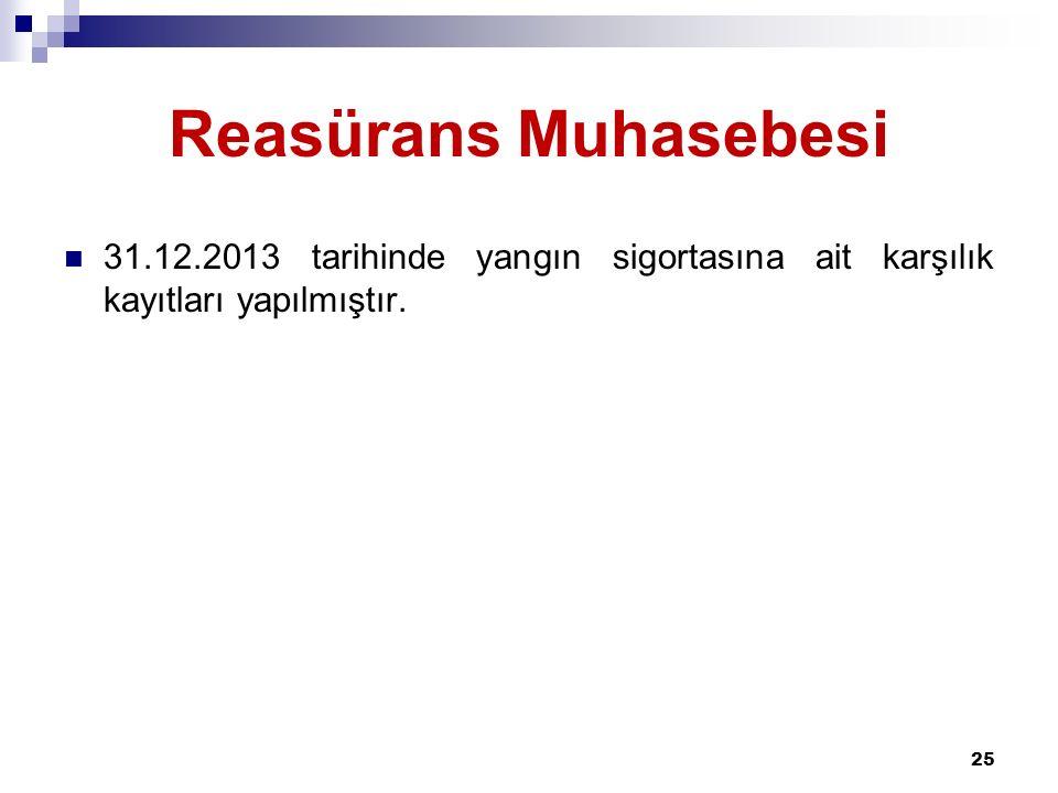 Reasürans Muhasebesi 31.12.2013 tarihinde yangın sigortasına ait karşılık kayıtları yapılmıştır.