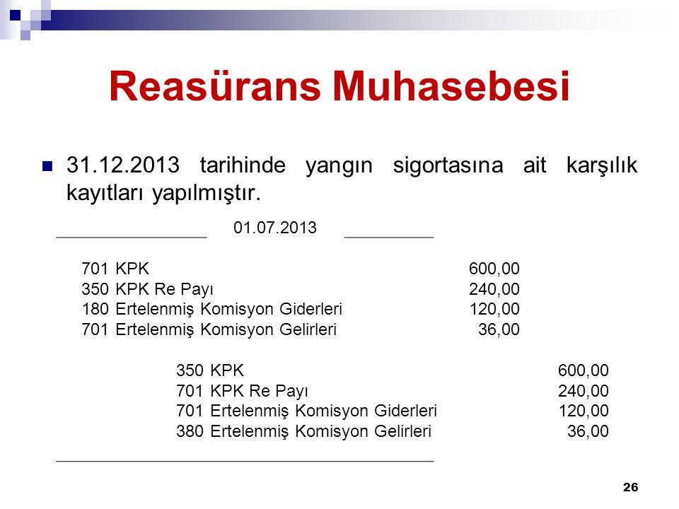 Reasürans Muhasebesi 31.12.2013 tarihinde yangın sigortasına ait karşılık kayıtları yapılmıştır. 01.07.2013.