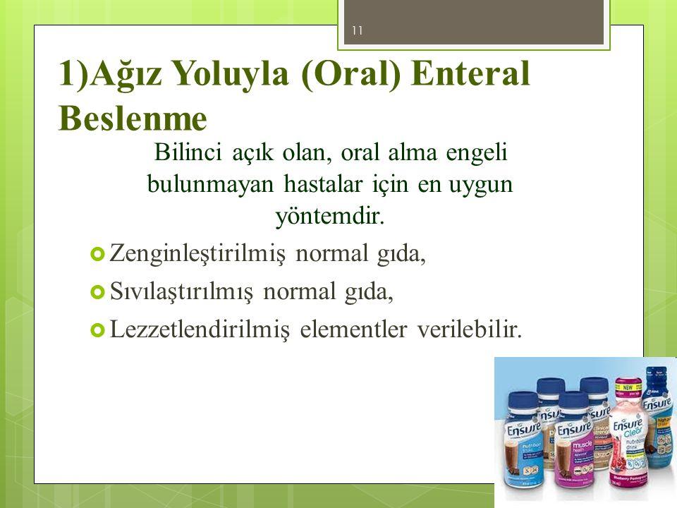 1)Ağız Yoluyla (Oral) Enteral Beslenme