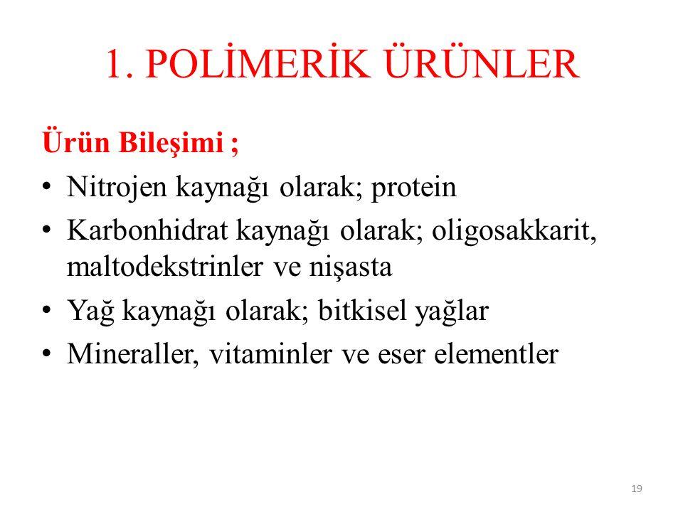 1. POLİMERİK ÜRÜNLER Ürün Bileşimi ; Nitrojen kaynağı olarak; protein