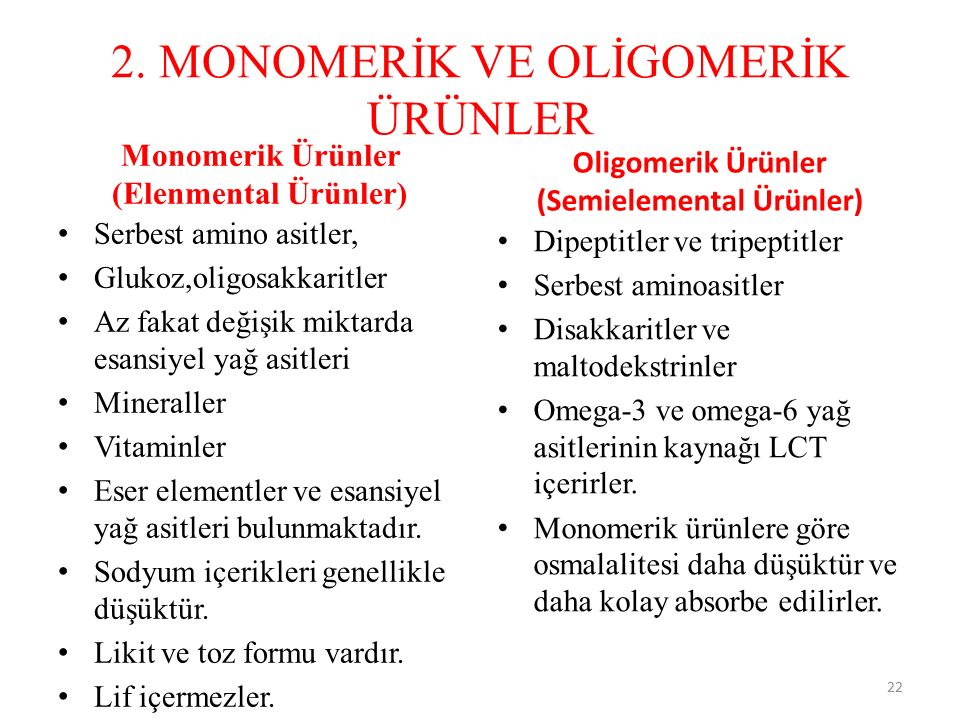 2. MONOMERİK VE OLİGOMERİK ÜRÜNLER