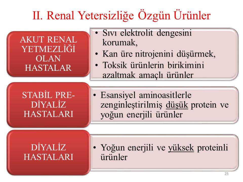 II. Renal Yetersizliğe Özgün Ürünler