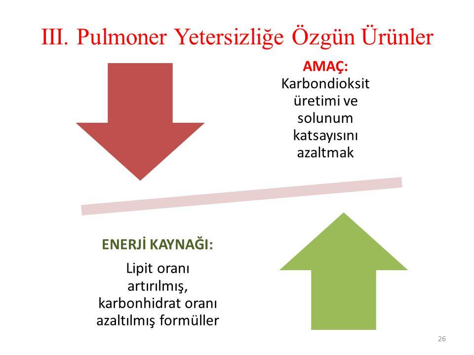 III. Pulmoner Yetersizliğe Özgün Ürünler