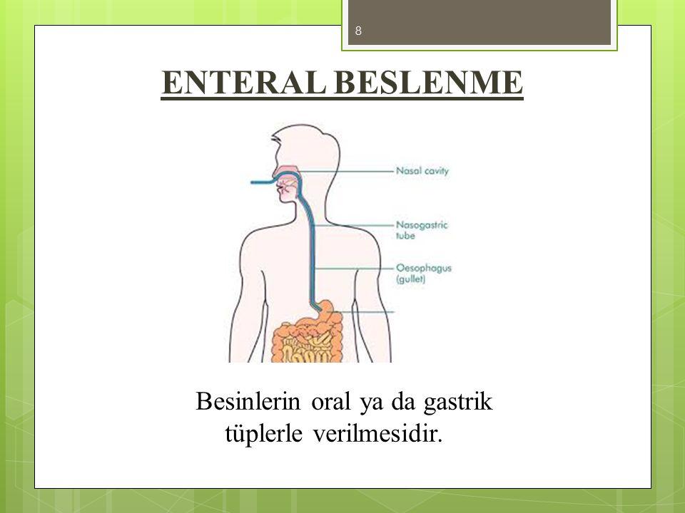 Besinlerin oral ya da gastrik tüplerle verilmesidir.