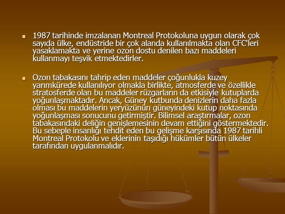 1987 tarihinde imzalanan Montreal Protokoluna uygun olarak çok sayıda ülke, endüstride bir çok alanda kullanılmakta olan CFC leri yasaklamakta ve yerine ozon dostu denilen bazı maddeleri kullanmayı teşvik etmektedirler.