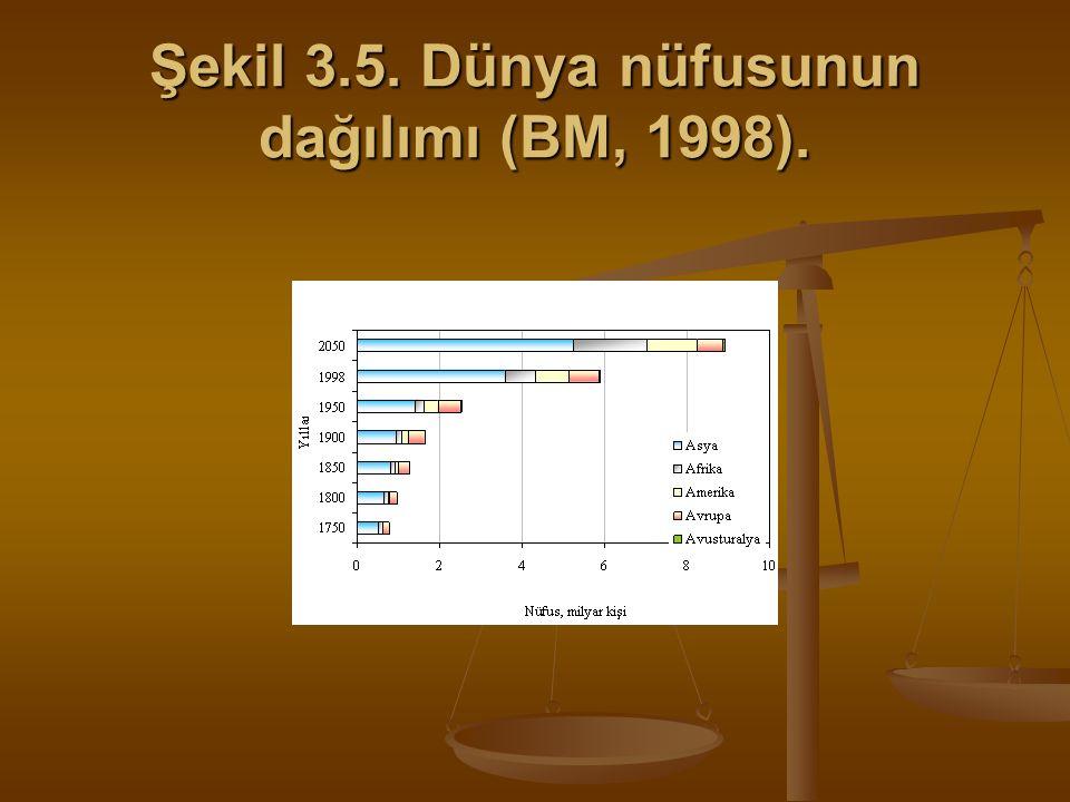 Şekil 3.5. Dünya nüfusunun dağılımı (BM, 1998).