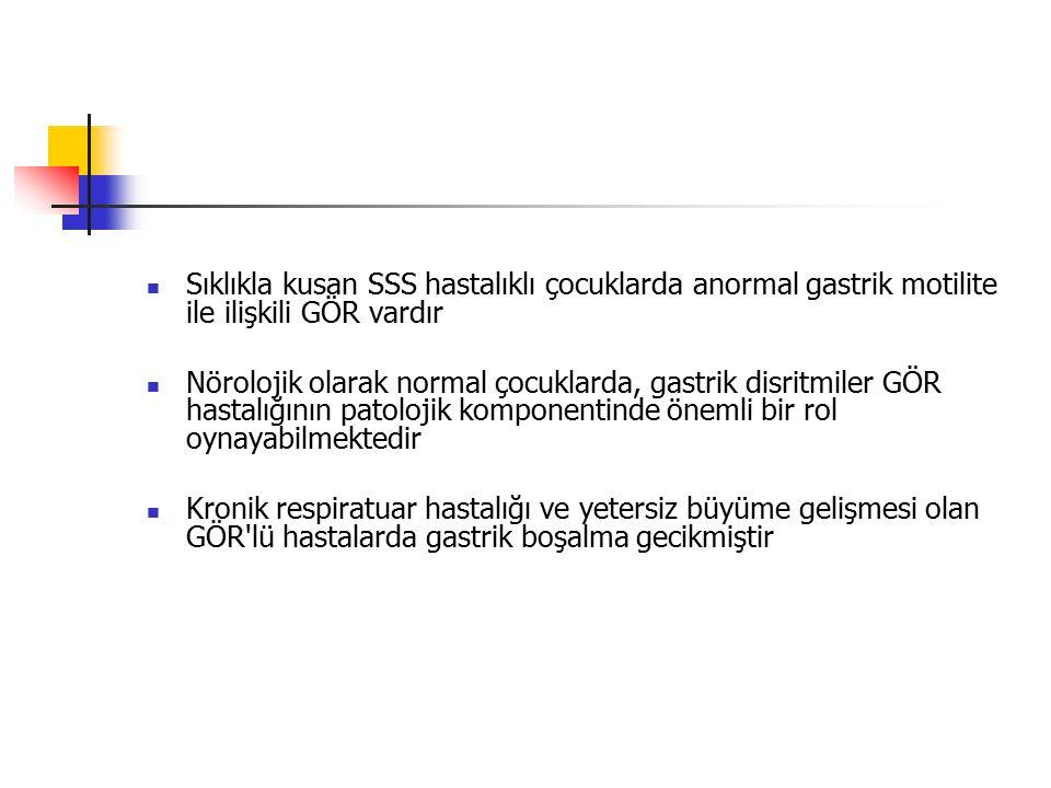 Sıklıkla kusan SSS hastalıklı çocuklarda anormal gastrik motilite ile ilişkili GÖR vardır